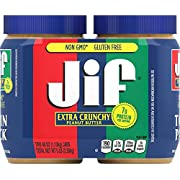 Jif Extra Crunchy Peanut Butter Twin Pack, 2-40 Ounces, 7g (7% DV) of Protein per Serving, Packed with Peanuts for Extra Crunch, No Stir Peanut Butter