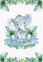 HD赤ちゃん象の男の子のベビーシャワーの背景5x7ftポリエステル生地の男の子の赤ちゃんのシャワーパーティーの写真の背景かわいい写真の赤ちゃん象の赤ちゃんのシャワーのデジタルスタジオの小道具