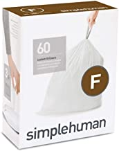 simplehuman Code F Custom Fit Drawstring Trash Bags, 25 Liter / 6.5 Gallon, 3 Refill Packs (60 Count)