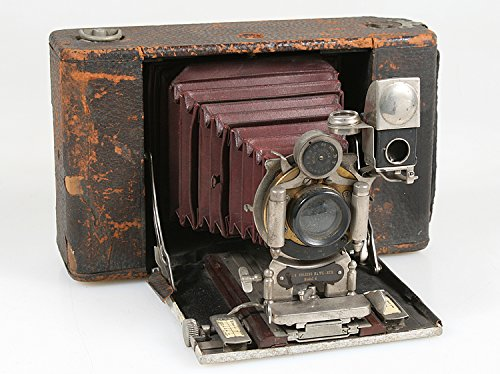 Vintage KODAK NO 4 Model 4 Folding Hawk Eye Camera W RED Bellows, Display ONLY