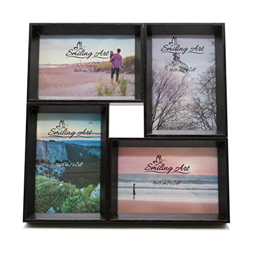 Smiling Art - Marco de fotos múltiple (madera DM, con cristal), MDM vidrio madera, Negro , 4x10x15 cm