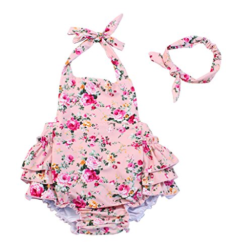 China Rose 50's Floral Ruffles Rompers Backless Dress Bathing Suit Swimwear (Medium,Pink)