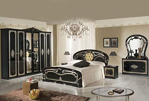 Tamara Laque Noir Chambre À Coucher Baroque : L'ENSEMBLE avec L'Armoire 6 Portes + Le Lit 160/200 + Les 2 Chevets + La Commode + Le Miroir.