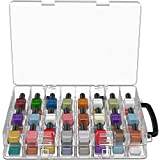 Diggs Nail Polish Organizer - Adjustable Dividers (48) Polish Holder Carry Case with Handle - Securely Store and Take Your Cosmetics Anywhere - Space Saving Clear Organizers for Storage