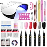 Saint-Acior Lot 36w Lampe UV/LED Machine 6PC One Step Gel Pen Vernis à ongles 3 en 1 Stylo Vernis Semi Permanent Soak Off LED Sans Besoin Base Coat Top Coat Manucure Limes Outils Nail Art-J6A