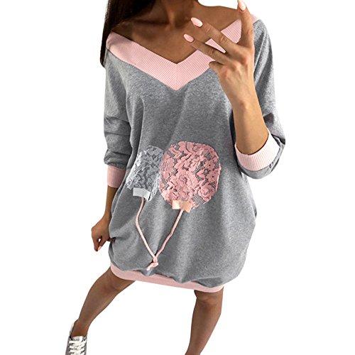 VECDY Damen Pullover,Räumungsverkauf- Herbst Neue Frauen Mode V-Ausschnitt Sweatshirt lose Bluse Tops Kleidung T-Shirt Lässige Ballonprint Pullover Sport Pullover Warme Jacke(Grau,50)