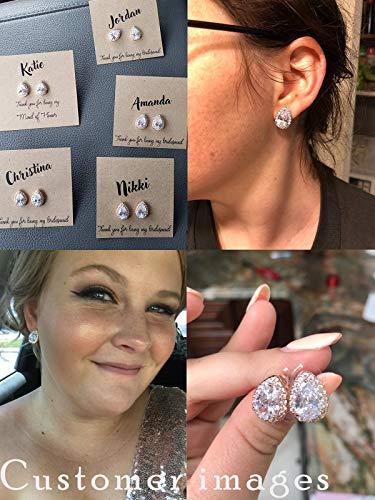 SWEETV Teardrop Bridal Earrings for Wedding, Prom – Elegant Cubic Zirconia Stud Earrings for women, brides, bridesmaids