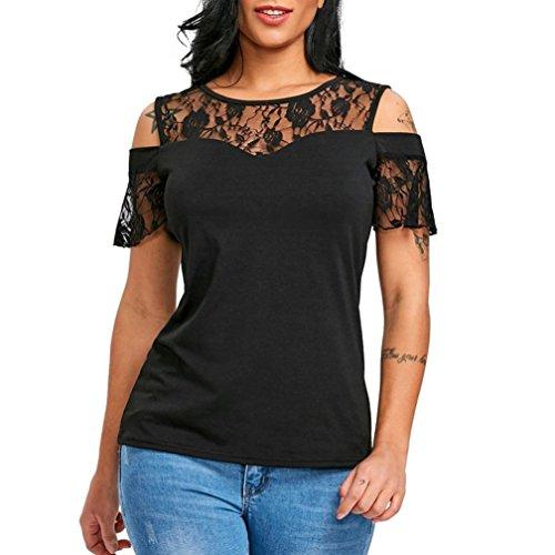 Homebaby T Shirt Donna Vintage Pizzo - Maglietta Donna Manica Corta Elegante - Maglietta Donna Tumblr Estiva Particolari Magliette Corte Ragazza Tumblr T-Shirt Donna (XL, Nero)