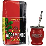 Yerba Mate Rosamonte Tradial - Juego de té mate de acero inoxidable, 1 kg, taza de té rojo,...