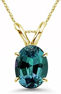 Lab created Oval Shape Russian Alexandrite Solitaire Pendant in 14K Yellow Gold Available in 6x4MM-18x13MM
