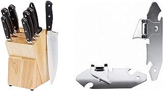 AmazonBasics Juego de cuchillos de cocina y soporte (9 piezas) + Ibili 785500 - Set 2 Abrelatas Explorador Niquelado