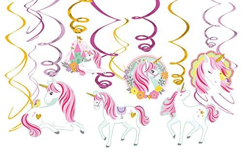 amscan 10119858 671929 - Hängedekoration Magical Unicorn, 12 Deko Spiralen, Einhorn