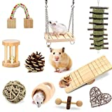 XIAO MO GU Hamster Toys, Guinea Pig Toys Natural Wooden Gerbil Rats Chinchillas Toys Accessories Dumbbells Exercise Bell Roller Teeth Care Molar Toy for Birds Bunny Rabbits Gerbils