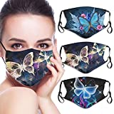 3 Pcs Butterfly Face_Mask for Women Man Colorful Butterfly Clover Mouth Protective Reusable Washable Designer Cloth Adjustable Cute Funny Gift for Women Men