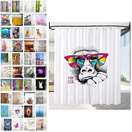 Sanilo® Duschvorhang, viele schöne Duschvorhänge zur Auswahl, hochwertige Qualität, inkl. 12 Ringe, wasserdicht, Anti-Schimmel-Effekt (180 x 200 cm, Stay Cool)