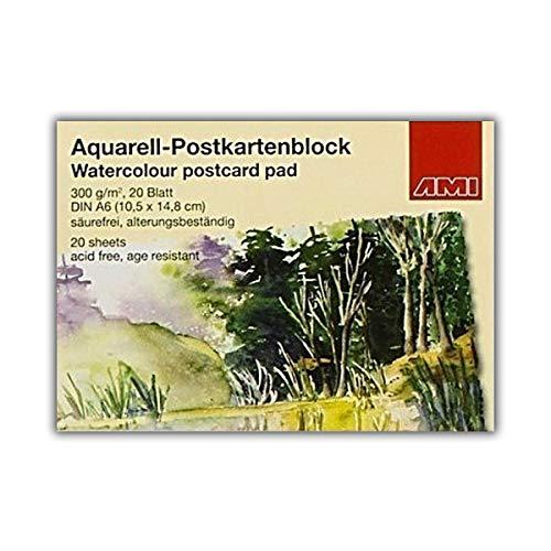 20 Blatt Aquarell-Postkartenblock DIN A6 / Postkarten selbst gestalten