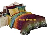 Rainbow Tree 100% Microfiber Fitted Sheet Set : Fitted Sheet and Two Matching Pillowcases (King)