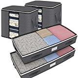 Isbasa 75L Under Bed Storage Containers and 90L Foldable Storage Bags Combination with Clear Windows, Reinforced Handles for Comforters, Bedding, Blankets and Clothing, 4 Pack, Gray