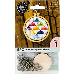 3 Birds Embroidery Hoop Necklace Punched For Cross Stitch-Circle W/Ball Chain
