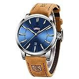 BENYAR Reloj de Hombre Movimiento de Cuarzo Correa de Cuero Esfera Minimalista 30M Impermeable Elegante Regalo de Los Hombres