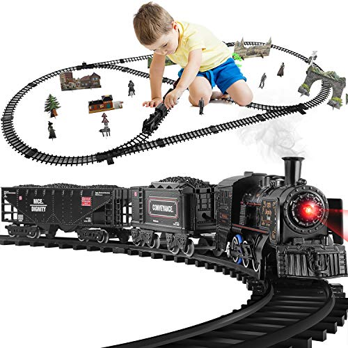 Baby Home Train Set ,Electric Metal Alloy Train Toy for Boys Girls w/ Smokes, Lights & Sound, w/ Steam Locomotive Engine, Cargo Cars & Tracks(2 Carriages)