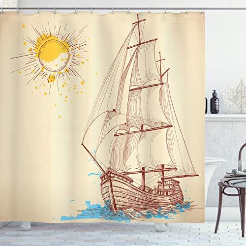 ABAKUHAUS Duschvorhang, Seemuster eines Segelboots im Windigen Meer mit Gespritzter Kreuzender Gallen Schiff Creme Farbe, Wasser & Blickdicht aus Stoff mit 12 Ringen Schimmel Resistent, 175 X 200 cm