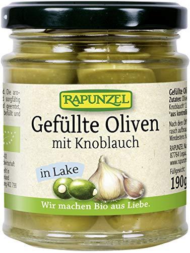 Rapunzel Bio Oliven grün, gefüllt mit Knoblauch in Lake (6 x 190 gr)