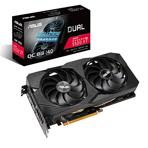 ASUS Dual EVO AMD Radeon RX 5500 XT OC Edition, Scheda Video Gaming, 8 GB GDDR6, HDMI, DisplayPort, Otimo per Gaming FullHD, Ventole AxialTech, Backplate in Metallo, Tecnologia Auto-Extreme