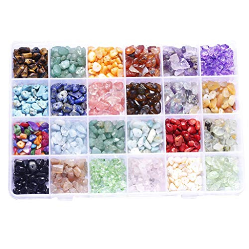 JIABAN 24 cuentas de gemas de cuadrícula irregulares para hacer pulseras y joyas.