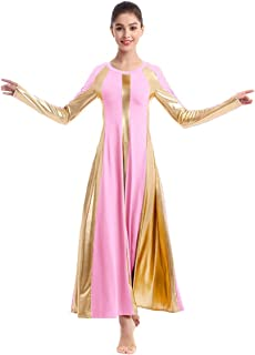 IBAKOM Womens Adult Metallic Gold Color Block Long Sleeve Praise Dance Dress Loose Fit Full Length Liturgical Lyrical Worship