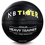 """NBTiger 2.2 lbs Size 7/29.5"""" Weighted Basketball with Pump Black Trainer Basketball for Improving Ball Handling Dribbling Passing and Rebounding Skill Heavy Basketball"""