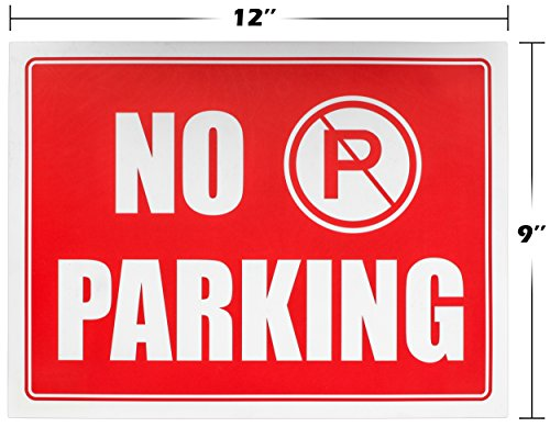 """Ram-Pro NO PARKING Sign - 9"""" High x 12"""" Wide Red on White Reflective Plastic Signs for Driveway, Personal Parking Space (Pack of 4) Photo #6"""