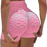 CheChury Yoga Pantalones Cortos Deportivos de Cintura Alta Mujeres Moda Textura de Burbuja Push Up Control De Barriga Yoga Correr Gimnasio Cortos Nudo de Lazo Elástico Cordón Leggings de Deportivos
