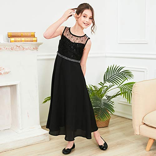 LB16 Girls Dress Rhinestone Chiffon Bridesmaid Dance Ball Maxi Gown Size 14 Black