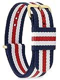 MOMENTO Cinturino Nato per Orologio Uomo Donna con Fibbia in Acciaio Inossidabile in Oro Giallo e Tessuto Nylon in Blu Bianco Rosso 20mm