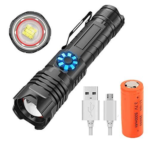 Linterna LED Alta Potencia 9000 Lúmenes, Recargable Linterna Táctica XHP70 Superbrillante, Impermeable 5 Modos, Antorchas de Mano con Zoom, con Batería 26650 para Camping, Exteriores e Interiores
