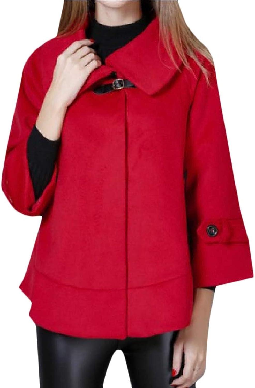 Coolhere Women's Elegant Merino FoldCollar Lapel Short Poncho Woolen Coat