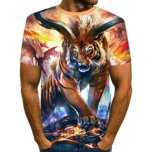 HGFHKL Beast Tiger Animal Design Men's O-Neck T-Shirt 3D Printing Colorful Animal Cool Plus Size T-Shirt Men's Casual T-Shirt