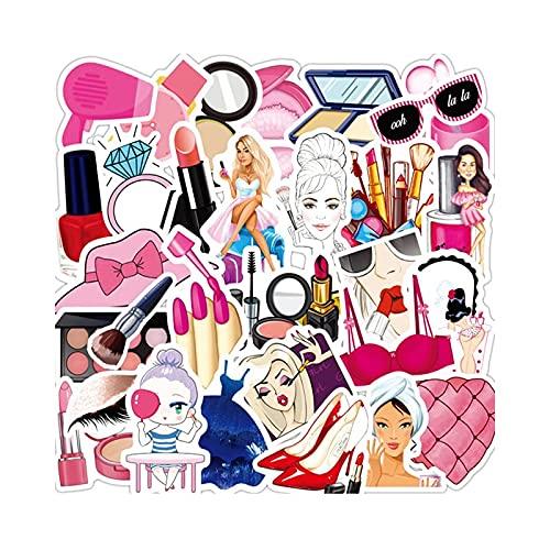 DUOYOU Rosa Linda Chica Maquillaje Set Lápiz Labial Botella De Perfume Impermeable Trolley Case Sticker Graffiti Bebé Juguete Al Por Mayor 50 Piezas