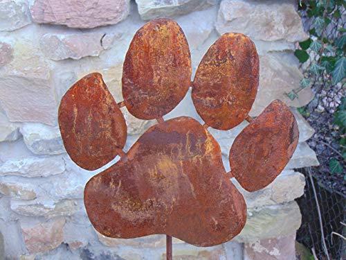 Edelrost Gartenstecker Hundepfote Beetstecker Gartendeko Höhe 117 cm