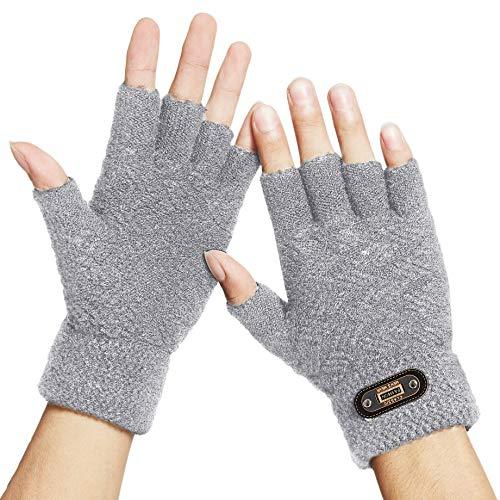 DOVAVA Handschuhe Fingerlose Herren,Halbfinger Handschuhe Herren Touchscreen,Strickhandschuhe Herren Schwarz Dunkelgrau und Khaki mit weichem Innenfutter (Grau Halb)