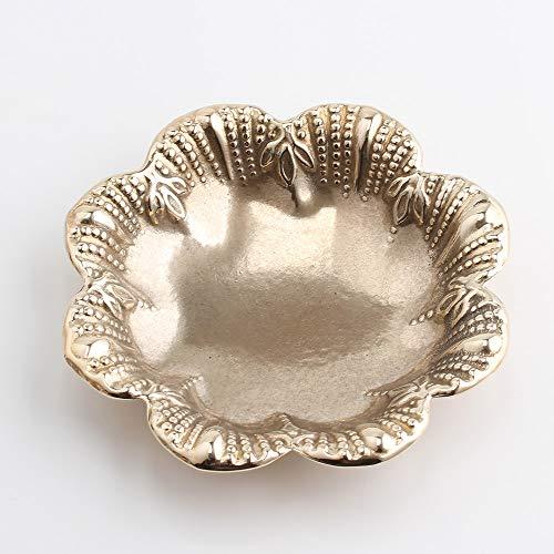(小皿 ビーズ フラワー)(CST007-PB) ゴールド 金色 イタリア製 真鍮製品 コイントレー お釣り入れ 灰皿 キャンドルトレー トレー金属