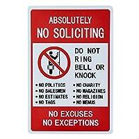 勧誘は絶対にありません-ベルやノックを鳴らさないでください、言い訳も例外もありません」サイン-20x30cm