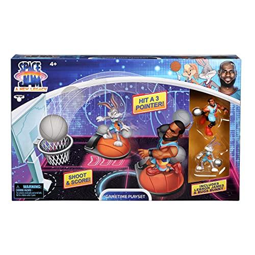 Spcae Jam 14576 Space Jam 2: A New Legacy Game Time Basketball Spielset mit Lebron James, Bugs Bunny Sammelfiguren (5 cm) und weiterem Zubehör, offizieller Merchandise zum Film