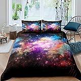 Juego de Funda nórdica Galaxy Juego de Cama de Espacio Exterior 230x220cm Starry Sky Universe Gradient Nebula Juego de Cama Multicolor de Lujo de 3 Piezas