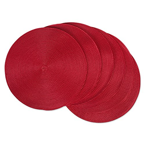DII Classic Woven Round Placemat for Indoor/Outdoor Table Settings, Everyday Use, Family Dinners or Holidays, 15' Diameter, Tango Red, 6 Count