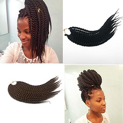 Coolbers 18 pouces Havana Mambo Twist Braids Crochet Extensions de cheveux noirs Crochet Braids Main Twist Jumbo Twist (18 pouces, 1B)