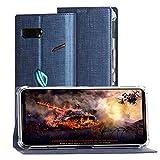 Foluu ASUS ROG Phone 2 Hülle, ROG Phone 2 Wallet Brieftaschen-Schutzhülle mit Kartenschlitz starker Magnetverschluss Klapphülle weiches TPU stoßfest für ASUS ROG Phone 2 (Blau)