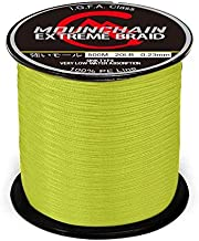 Mounchain Braided Fishing Line Abrasion Resistant Braided Lines 4 Strands Super Strong PE Fishing Line 547 Yards 30lb Yellow