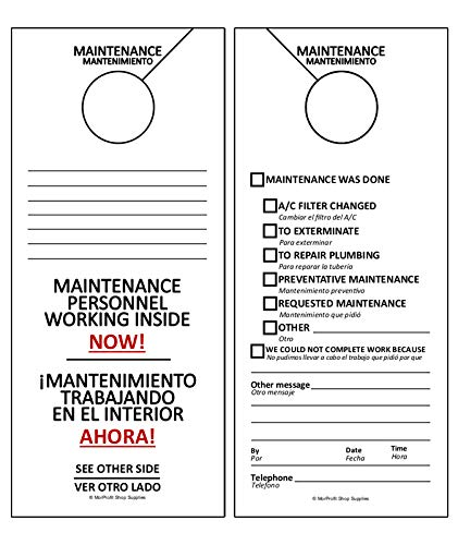 Maintenance Door Hanger Tags - Bilingual English And Spanish for Property Management Rentals Apartments (50 Pack)
